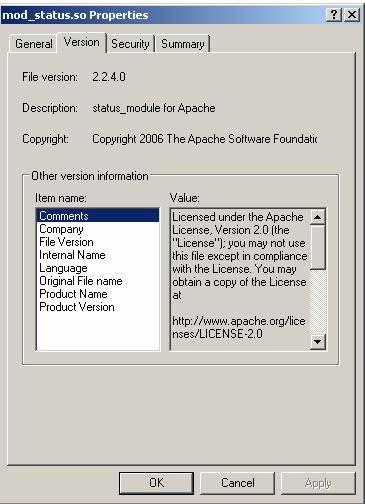 Данные DLL модуля Apache