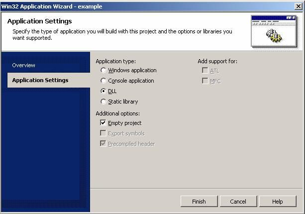 Выбираем тип приложения для модуля Apache 2